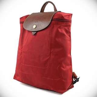 降價特惠 全新正品 Longchamp pliage Luc Rouge 後背包 紅色