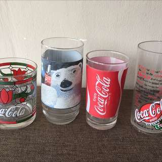 Vintage Coca Cola Glasses (3 Glass + 1 Plastic)