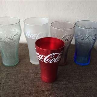 Vintage Coca cola Glasses (4 + 1 Aluminum)