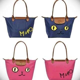 正品保證 2015 Longchamp LePliage 特別款 Miaou 貓咪包 深藍 桃紅