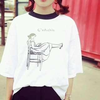 (售出)黑白印花竹節棉短版上衣