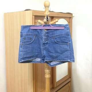 CP值up up夏日藍牛仔短褲  遮小腹高腰短褲