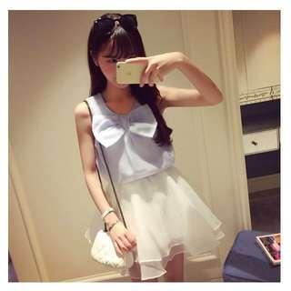 氣質上衣+白紗裙