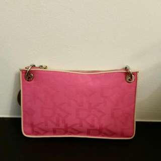 DKNY Pink Monogrammed Small Clutch Bag