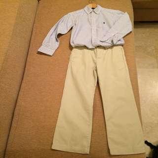 Polo Ralph Lauren Size 8 Boy L/S Oxford Shirt & Khaki Pants (used Once)