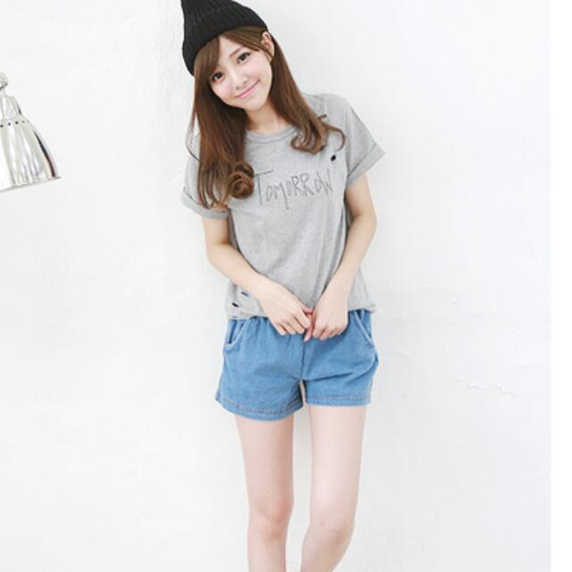 全新,韓版鬆緊牛仔短褲