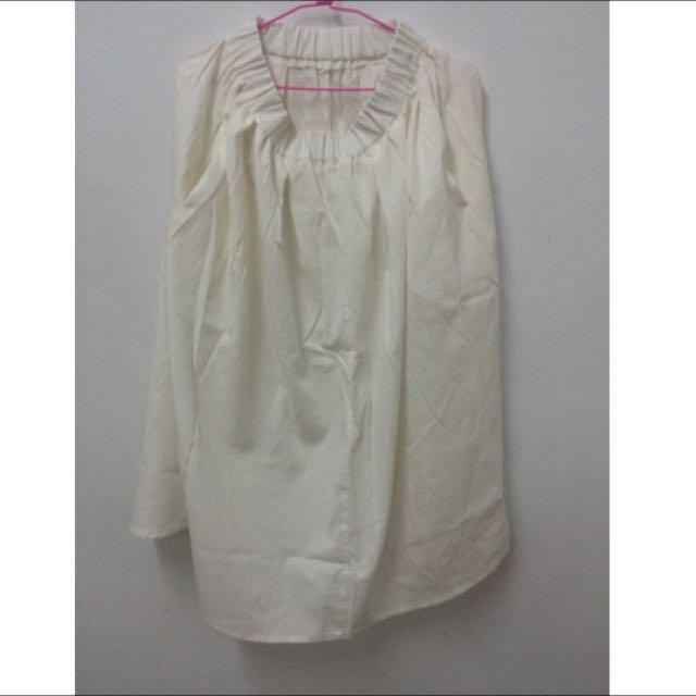知性素面鬆緊長裙-白