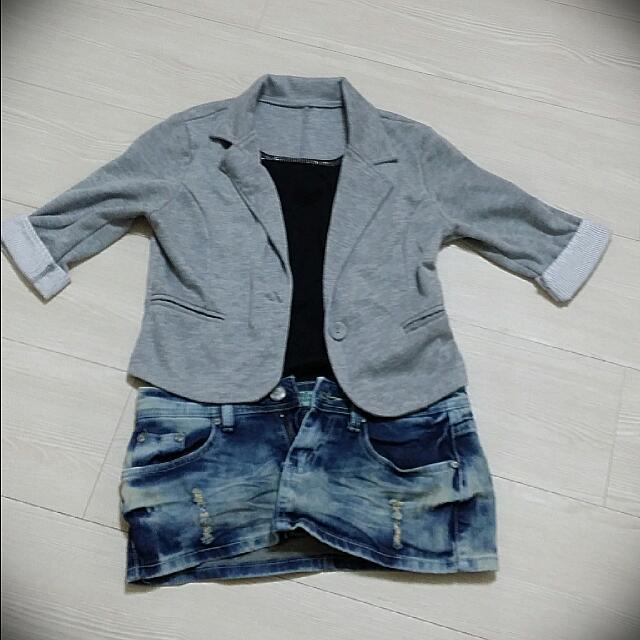 五分袖百搭短版小外套