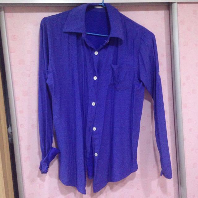 全新/藍紫色偏絲質薄襯衫💜