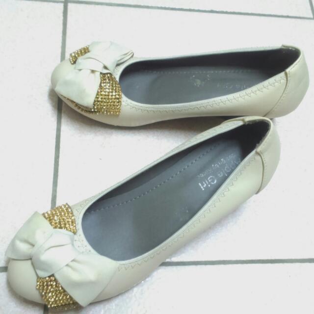 白色 蝴蝶結 高跟 楔形鞋