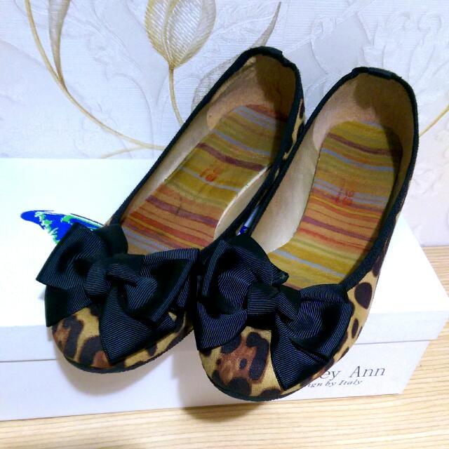 (二手) 蝴蝶結 豹紋 娃娃鞋 24號
