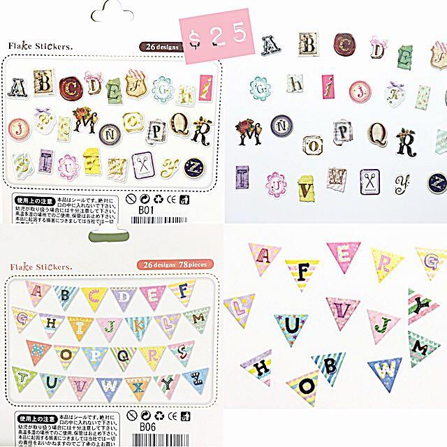 分裝 貼紙 貼紙包 日本 文具 字母 復古 徽章