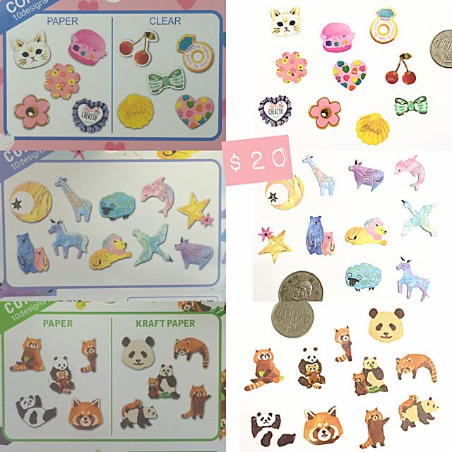 分裝 貼紙 日本 文具 貼紙 貓咪 蛋糕 動物 星座 熊貓 浣熊