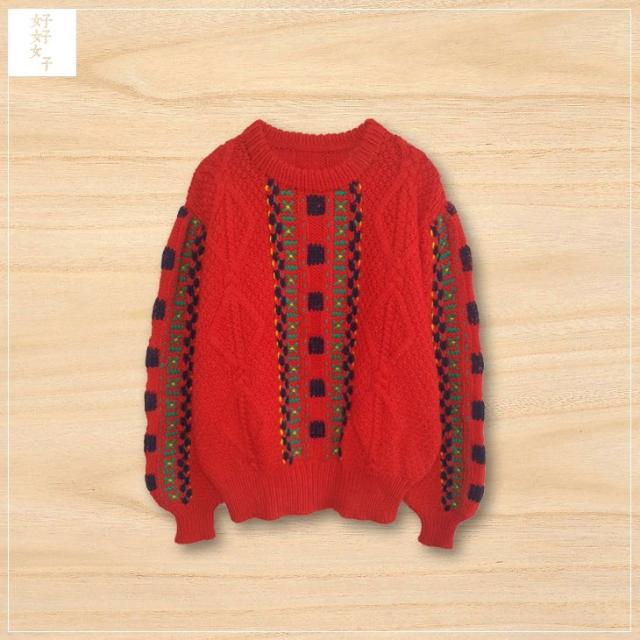 紅色 麻花 毛衣 vintage 古著