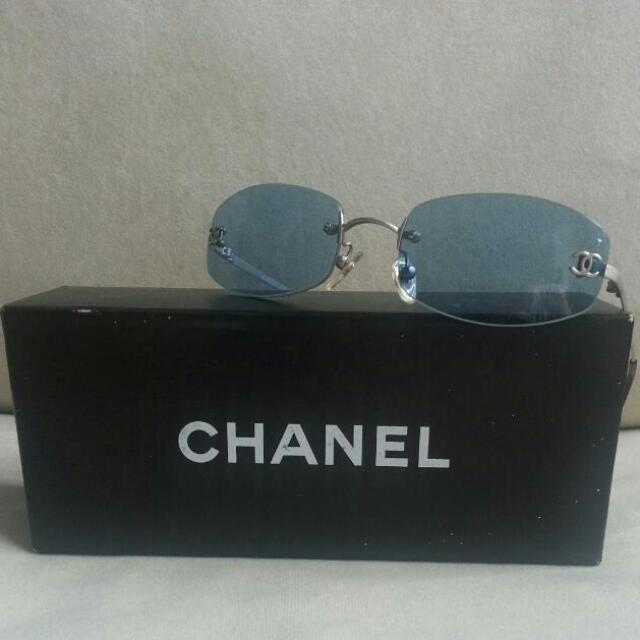 ccaa4ad466d01 REDUCED ) Authentic CHANEL Frameless CC Logo Sunglasses Blue 4002 ...