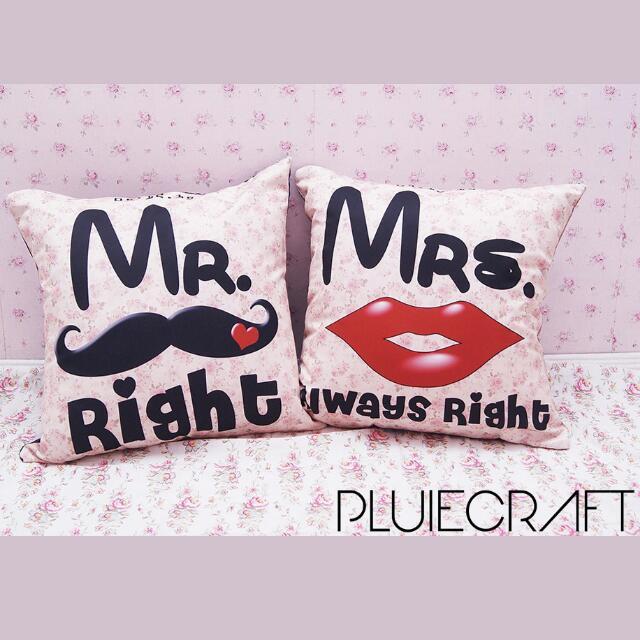 Bantal Couple Custom Mr Mustache Mrs Lips
