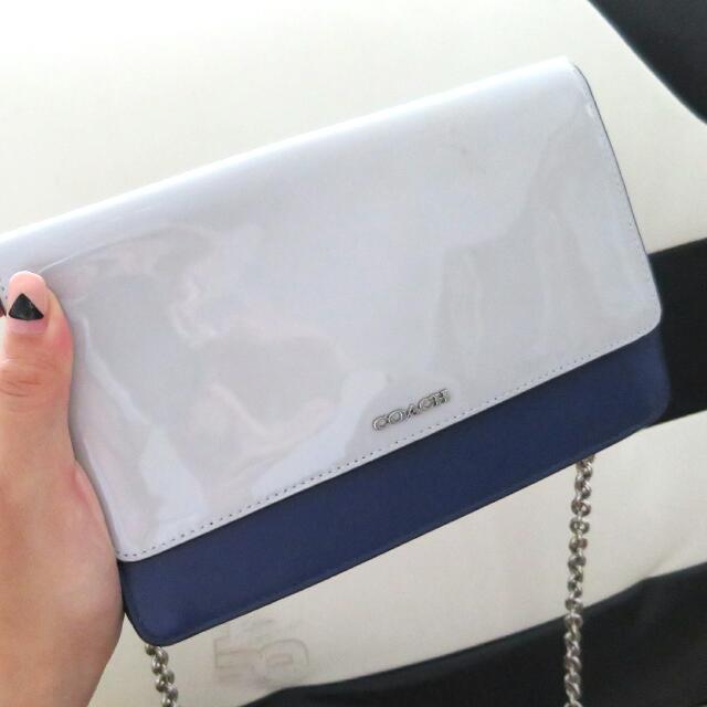 【全新】Coach 灰x藍斜揹小包