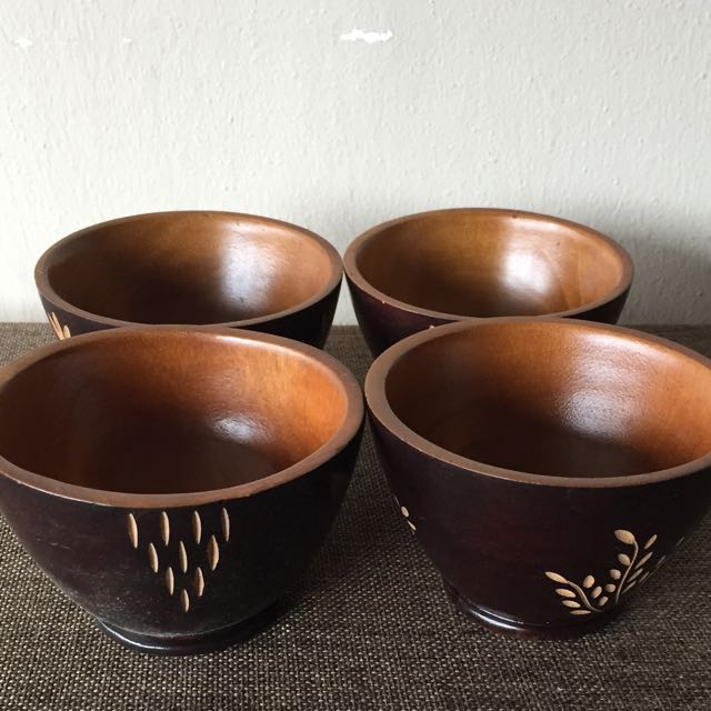Handcrafted Wooden Bowls 4 Pieces Furniture On Carousell