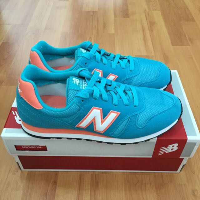 promo code ed896 75042 New Balance 373 Turquoise/Peach Leather Sneakers Women US8/UK6/EUR 39 New!!