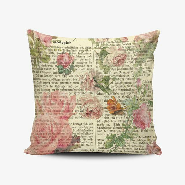 Shabby Chic Newspaper Pillow Cushion Bantal Cetak