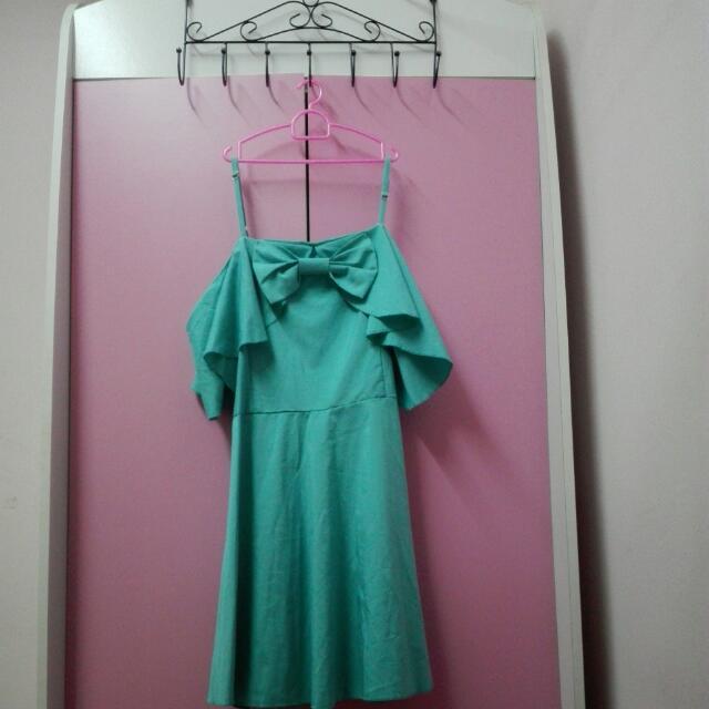 Turquoise Ribbon Off Shoulder Dress