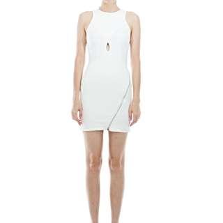 Tuulla White Mini Dress With Zip & Cutout Detail
