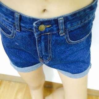全新含運✨高腰反折牛仔短褲/牛仔藍