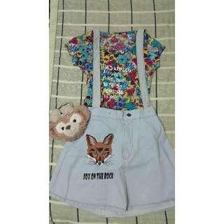 刺繡牛仔吊帶裙+花花上衣