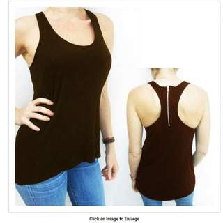 Fashion Womens Flowy Sexy Loose Racerback Sleeveless Zipper Tank Top Large Brown