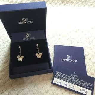 [全新]SWAROVSKI水晶米奇經典紀念耳環