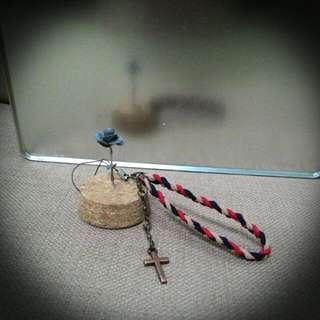 <復古民族><純手作>紅銅十字架韓國絨吊飾