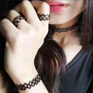 ✨全新個性戒指項鍊手環一套組