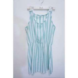 綠白雪紡小洋裝