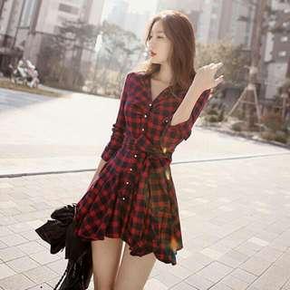0817韓版格子衫百折連身裙