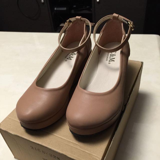 95成新含運價~瑪莉珍腳踝綁帶後底鞋,可可色楔形鞋,咖啡色,裸色高跟鞋
