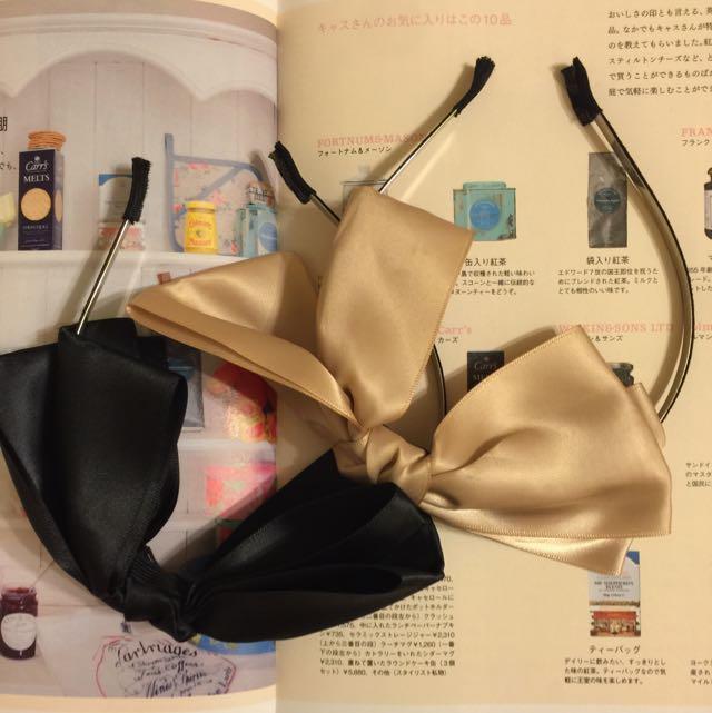 蝴蝶結髮ㄎㄨ#黑色/米色