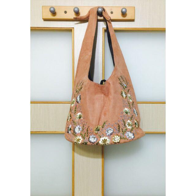 [全新]繡花綁帶手提包包