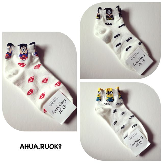 韓國可愛超人小小兵圖案襪♥️ 短襪子 中筒襪 條紋襪 動物 復古 搭配 阿華有事嗎