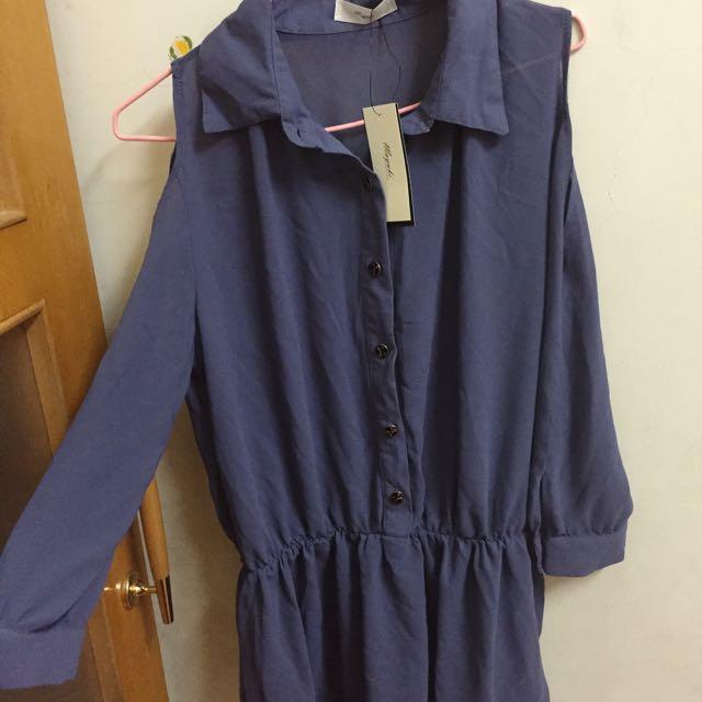 《全新》東京著衣mayuki 深藍削肩雪紡短洋