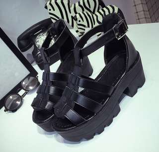 092ff08a6fe (PO) Cage Platform Sandals   Heel (Smooth Surface) - Stylenanda Inspired