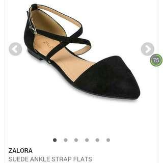 Black Suede Ankle Strap Flats by ZALORA