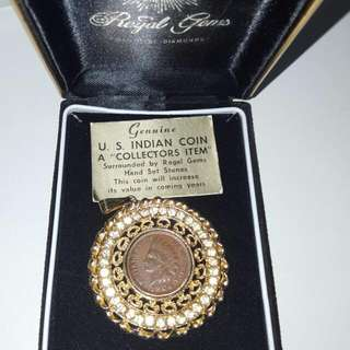 1904 US Indian Coin With Gold Plated Pendant