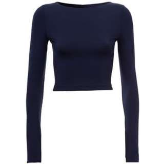 Kookai Cropped Long Sleeve Poly Top In Blue Grey