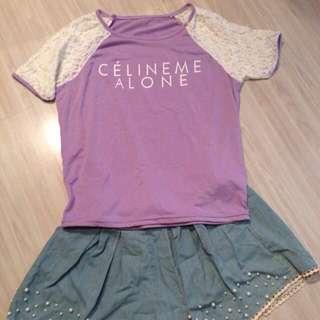 糖果紫蕾絲袖上衣