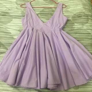 紫色大V領洋裝