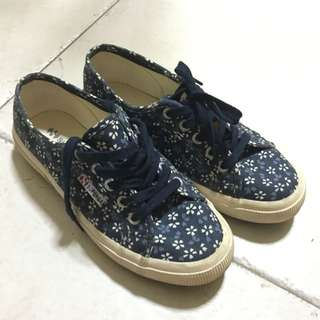Superga Navy Blue With Floral