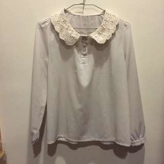 蕾絲領雪紡襯衫