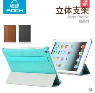 全館出清 售完不補 iPad Air 皮套 名牌正品ROCK洛克紋系列 iPad 五代 超薄休眠喚醒皮套 支架功能 限量