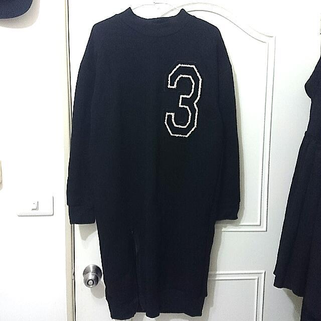 數字3布章長版開岔刷毛長洋裝