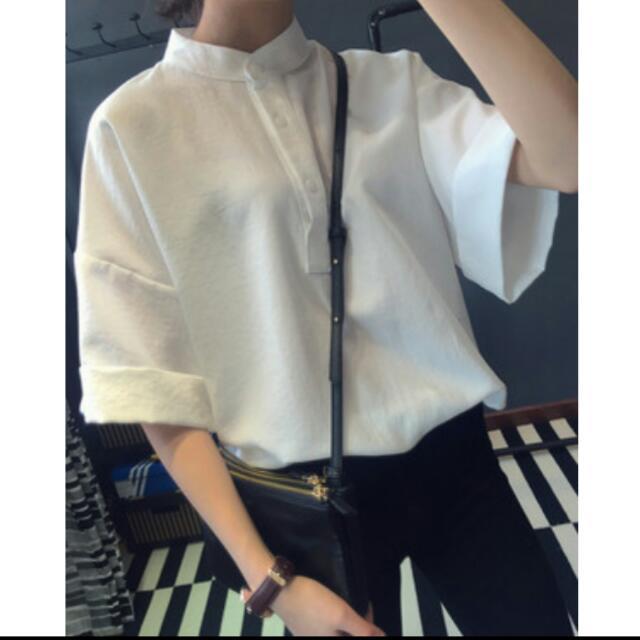 <現貨>復古小立領白寬鬆顯瘦襯衫